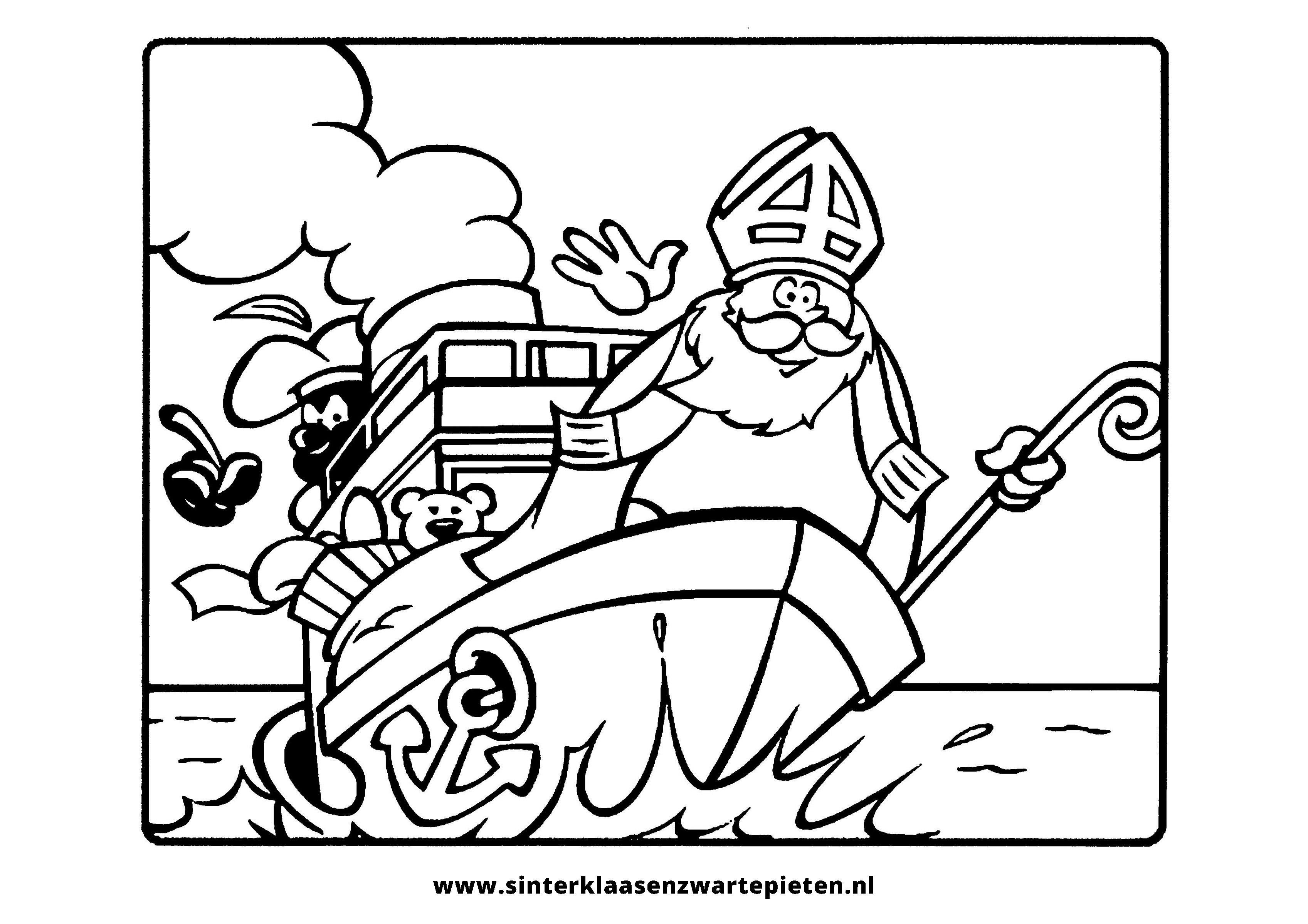 Kleurplaten Sinterklaas Stoomboot.Mooi Kleurplaten Sinterklaas Zwarte Piet Stoomboot Klupaats Website