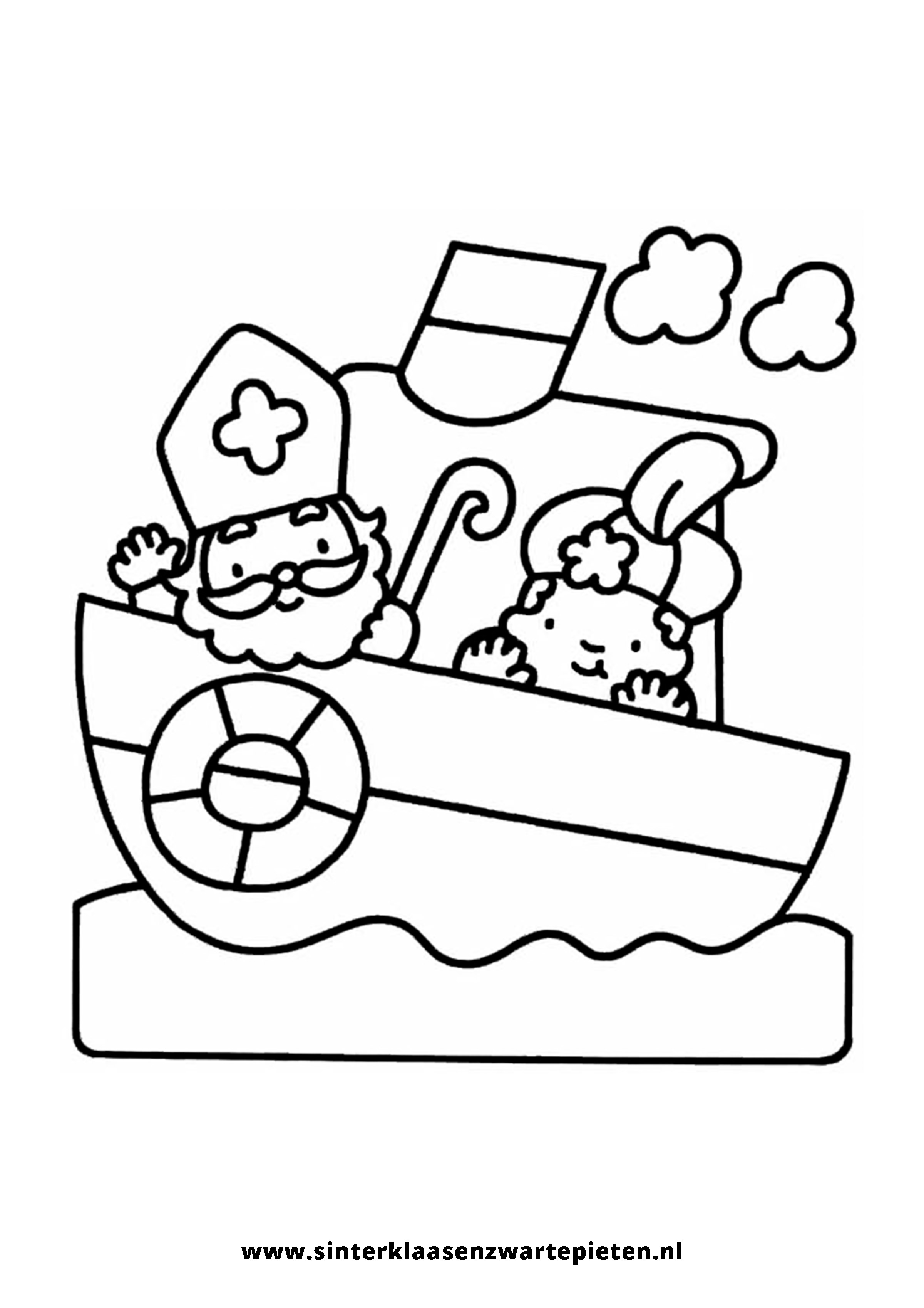 Kleurplaten Van Sinterklaas En Zwarte Piet.Elegant Kleurplaat Sinterklaas Op De Boot Klupaats Website