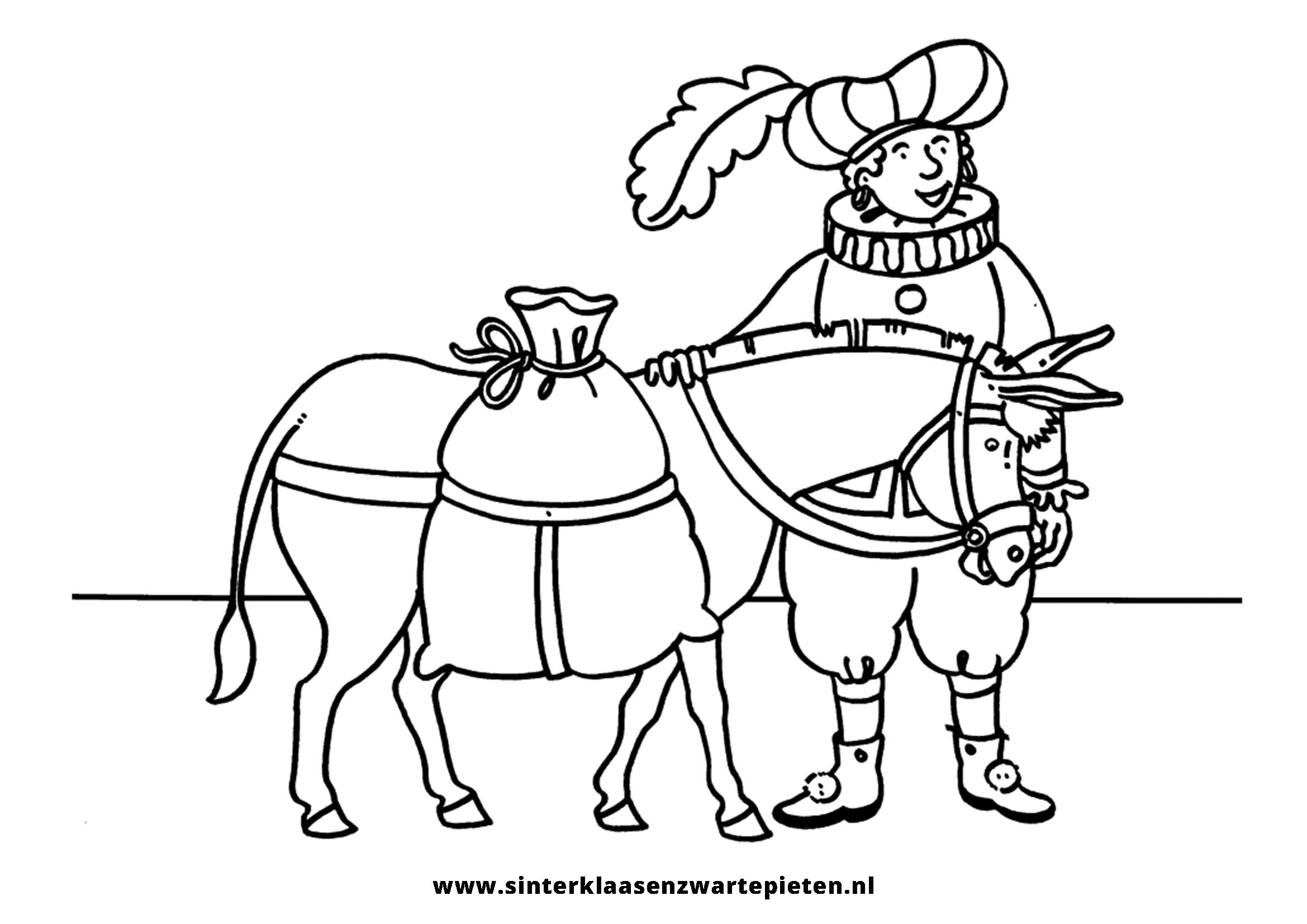 Inspirerend Kleurplaten Sint En Piet En Paard